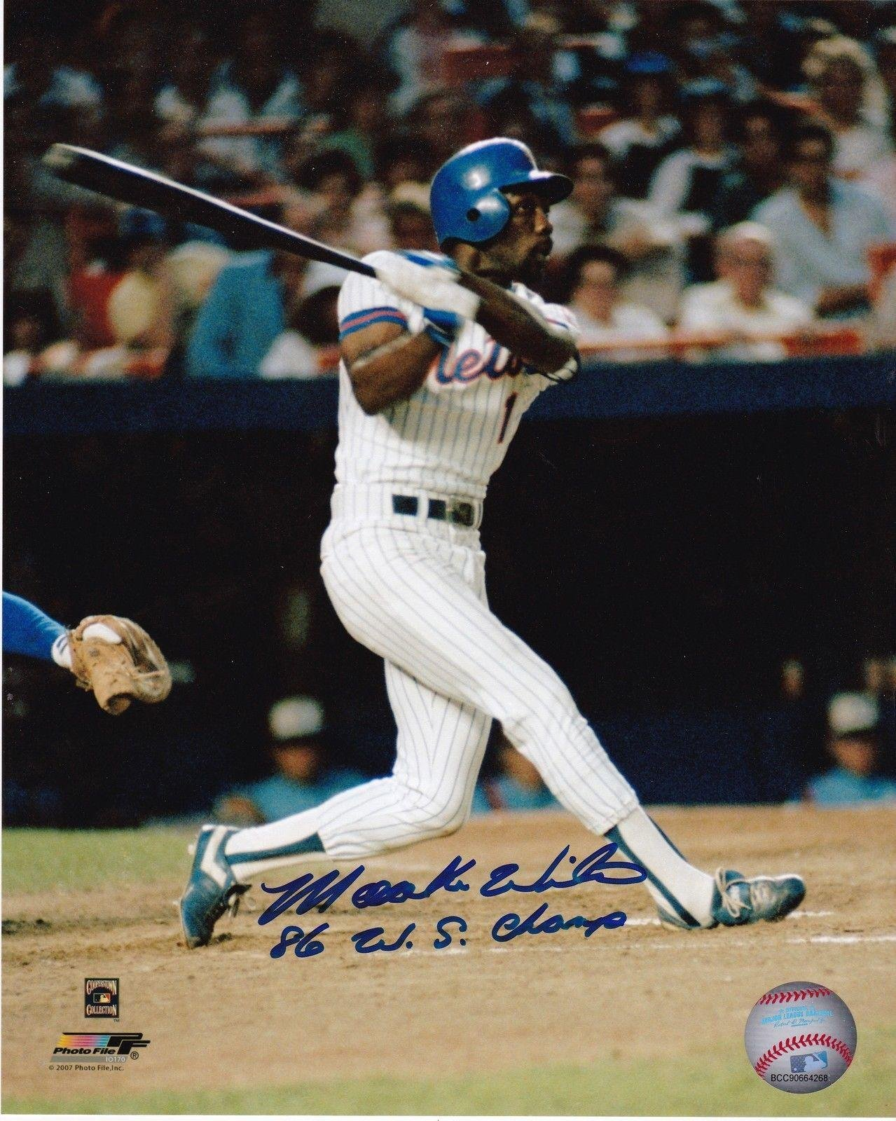Mookie Wilson Autographed Photo 86 WS CHAMPS 8x10 Autographed MLB Photos