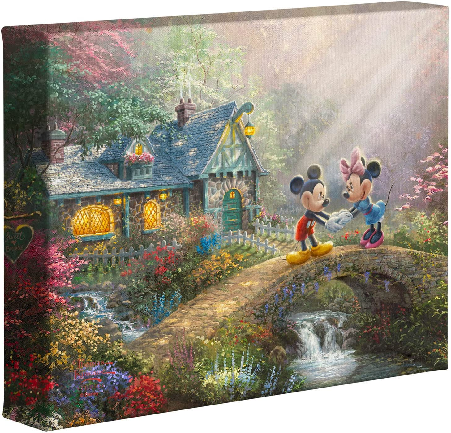 Thomas Kinkade Studios Disney's Mickey and Minnie Sweetheart Bridge 8 x 10 Gallery Wrapped Canvas