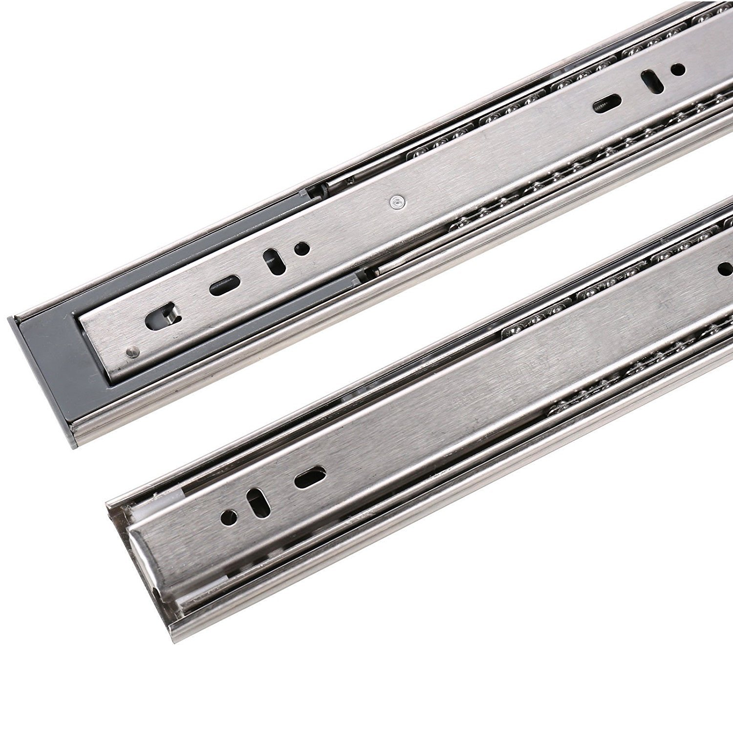 MATEE 10-In Mute Stainless Steel Damping Buffer Three Section Drawer Slide Soft & Self Closing Ball Bearing Runner Zinc Plated with Spring Design