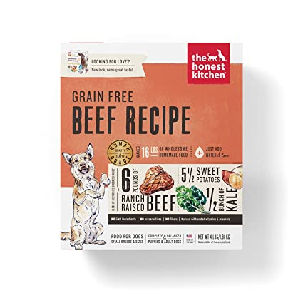 Honest Kitchen The Human Grade Dehydrated Grain Free Beef Dog Food, 4 Lb    Love
