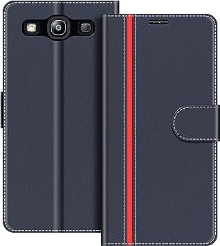 COODIO Funda Samsung Galaxy S3 con Tapa, Funda Movil Samsung S3, Funda Libro Galaxy S3 Carcasa Magnético Funda para Samsung Galaxy S3 / S3 Neo, Azul Oscuro/Rojo: Amazon.es: Electrónica