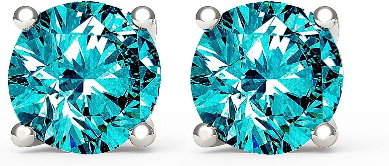 1//2CT Princess Green Emerald Created Diamond Earrings 14k Yellow Gold Screwback