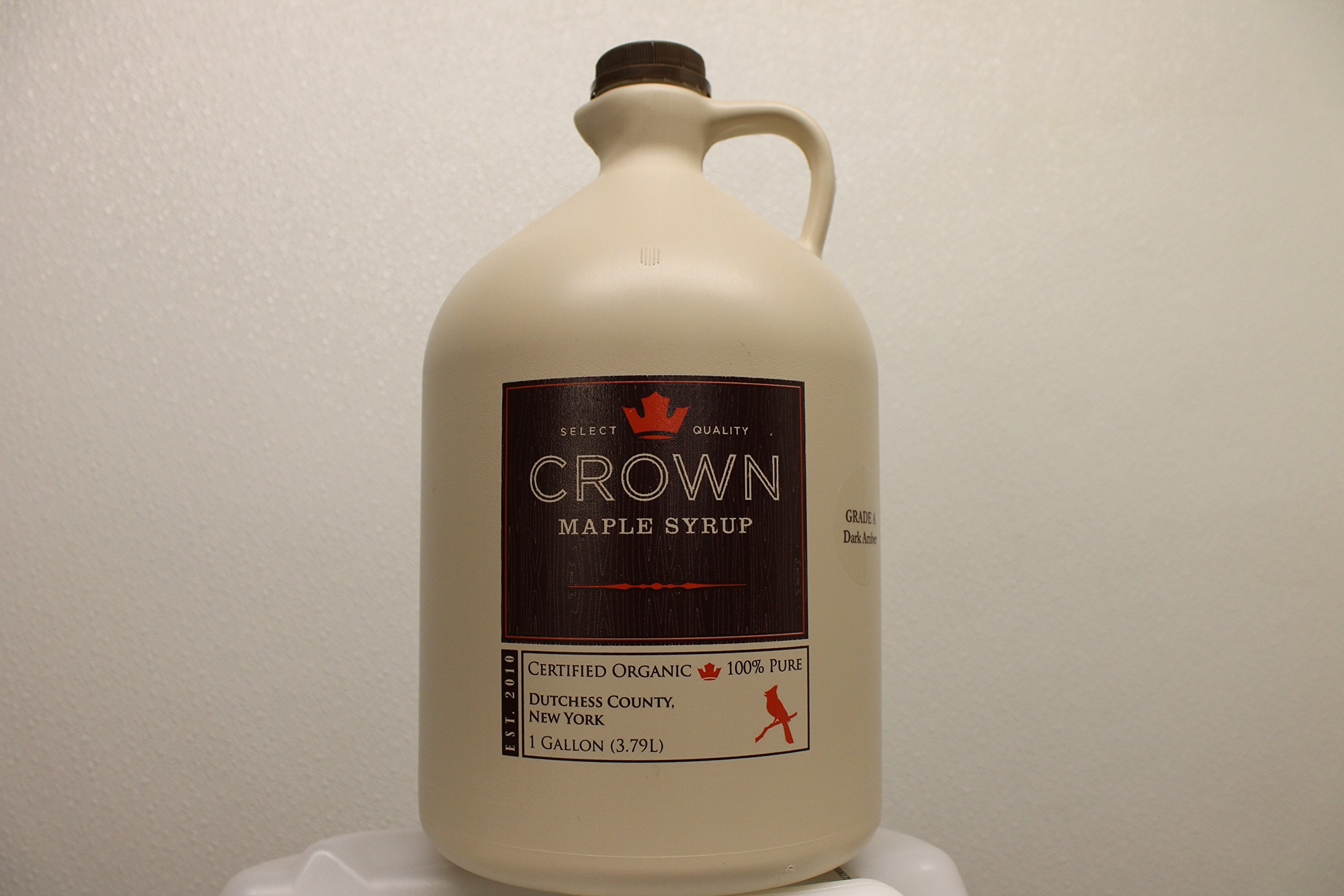 Crown Maple Organic Very Dark Color - Strong Taste Syrup One Gallon Plastic (Formerly Grade B)