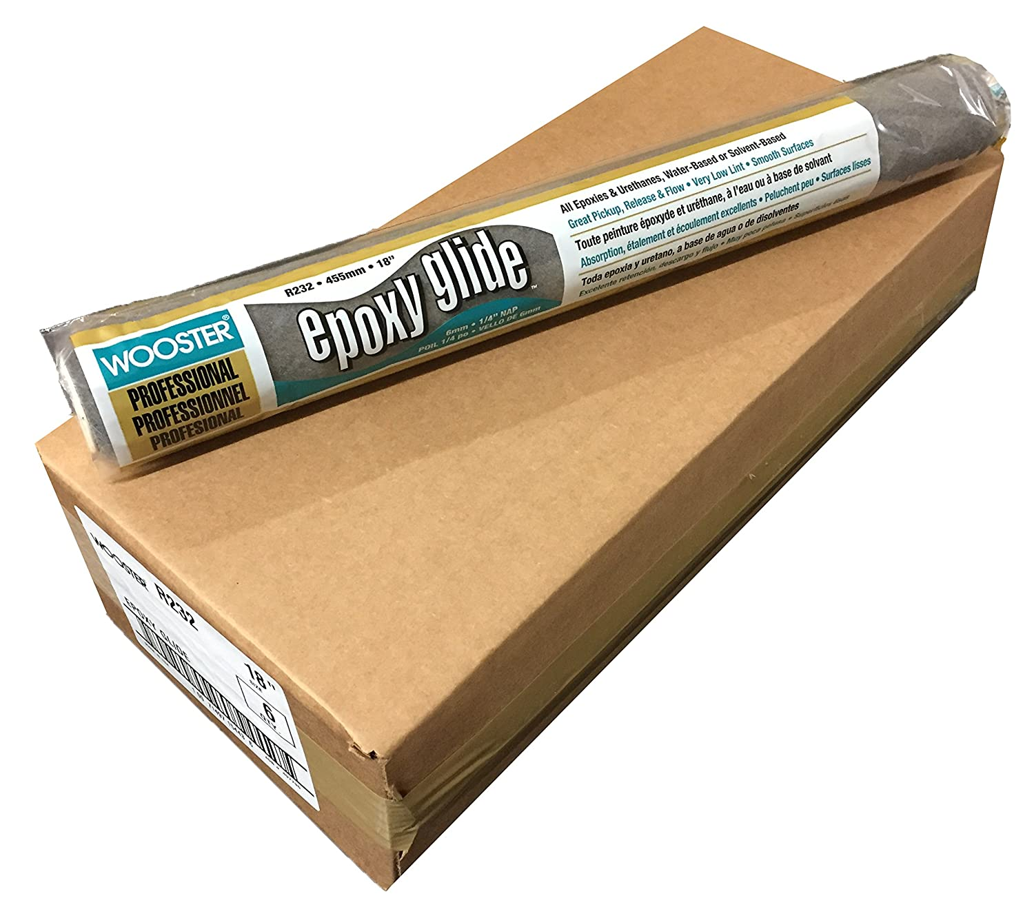 Wooster Brush R232-18 1/4-Inch Nap Epoxy Glide Roller Cover, Pack of 6 R232-18-1/4