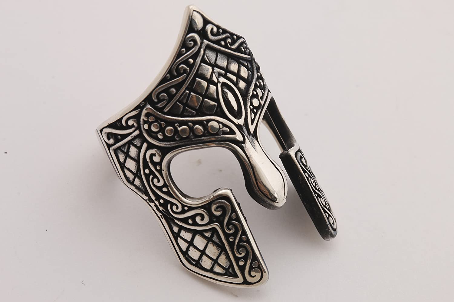 Turkish Handmade Jewelry Knight Helmet Symbol 925 Sterling Silver Mens Ring All Size Options Size