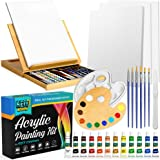 KEFF Creations Acrylic Paint Set – Beech Wood Table Easel, 12 nontoxic Acrylic Paint Tubes, Canvas Panels, Stretched…