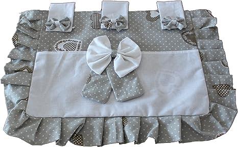 Copriforno copri forno con tasca 37x55 cm fantasia Begie pois Bianco