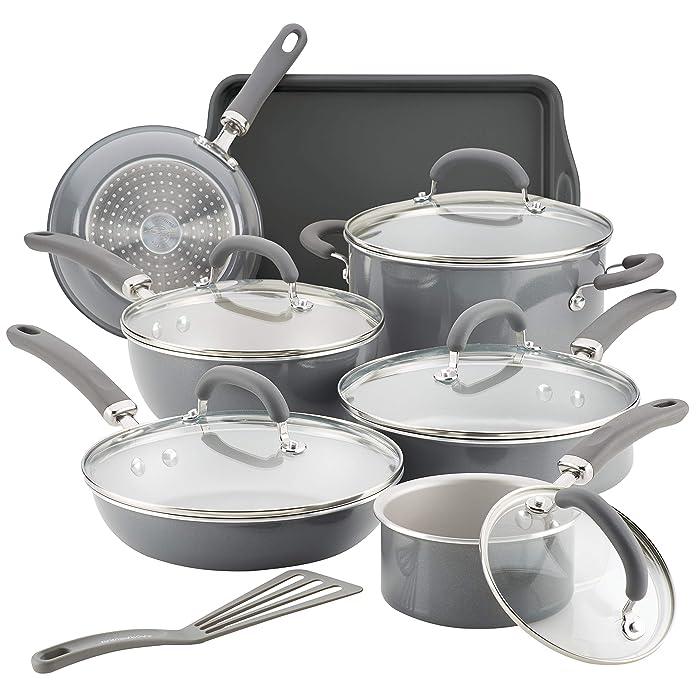 Rachael Ray 12148 13-Piece Aluminum Cookware Set, Gray Shimmer