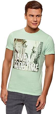 oodji Ultra Hombre Camiseta con Estampado de Verano: Amazon.es: Ropa y accesorios