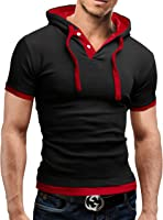 MERISH T-Shirt Men Slim Fit Henley Shirt 2 Tone Design Modell 09