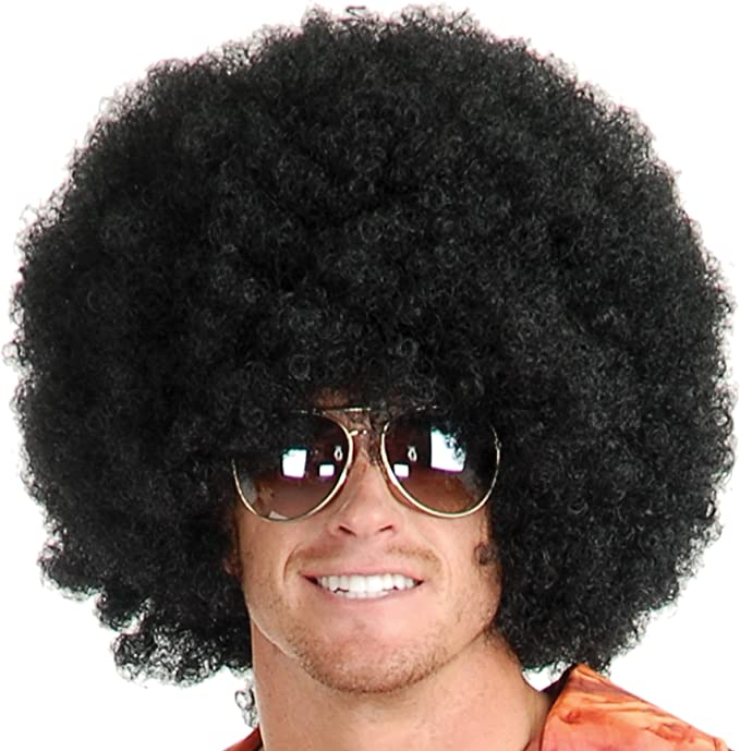 #1 Short Fluffy Afro Wigs Heat Resistant Synthetic Unisex Men Women Cosplay Anime Fancy Funny Wigs for Party Afro Wig Black