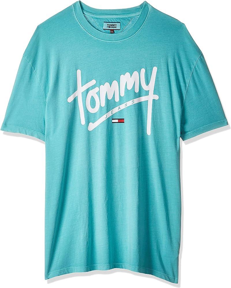 Tommy Hilfiger TJM Handwriting tee Camisa, Azul (Ceramic 420), X-Small (Talla del fabricante: W33/L32) para Hombre: Amazon.es: Ropa y accesorios