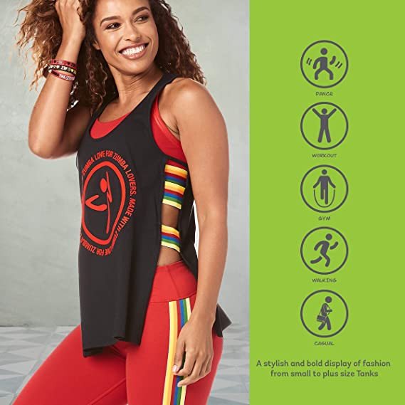 Zumba Womens Graphic Design Loose Breathable Workout Tank Top Tank Femme