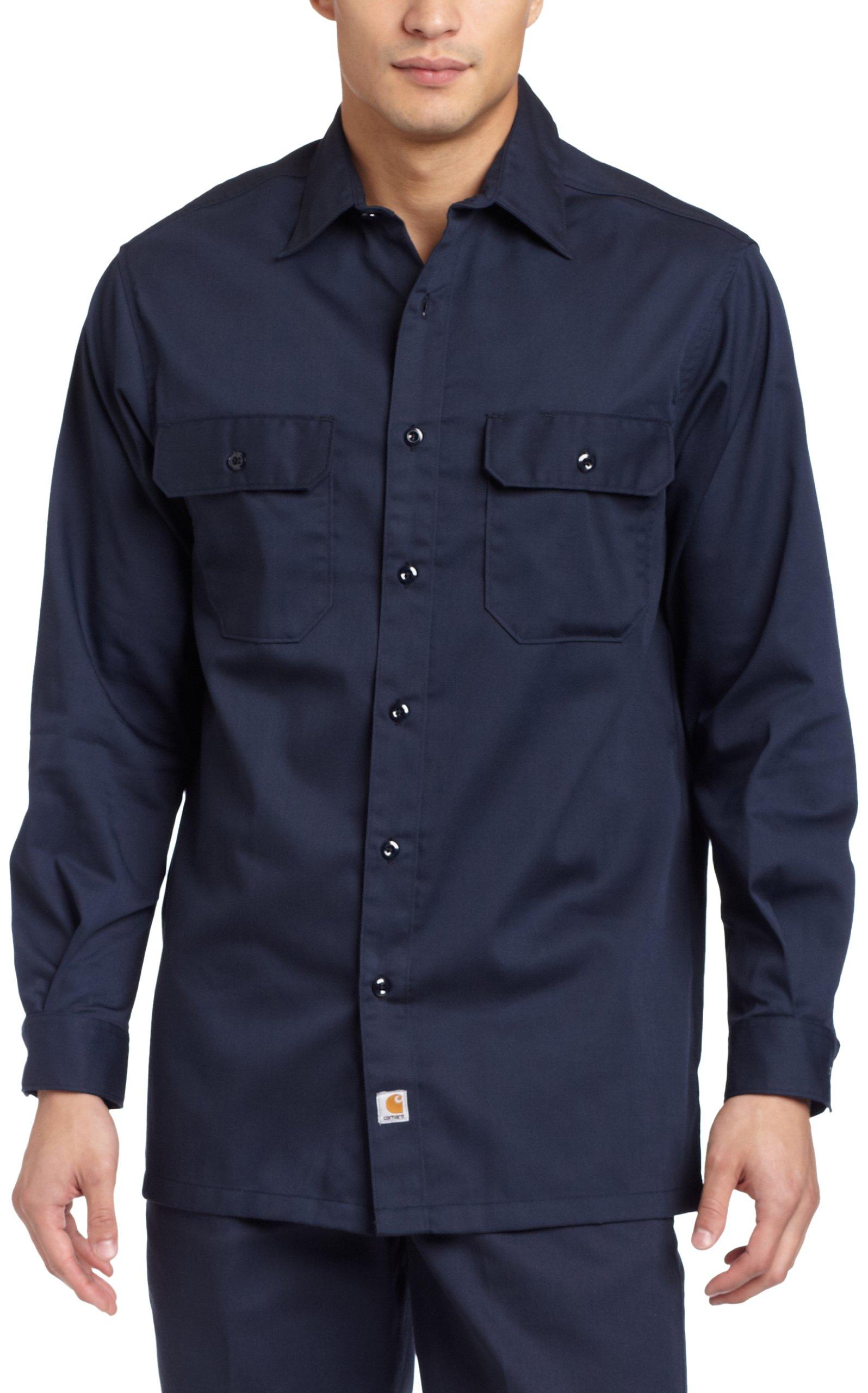 Carhartt Men's Big & Tall Twill Long Sleeve Relaxed Fit Work Shirt Button Front,Navy,XXX-Large Tall