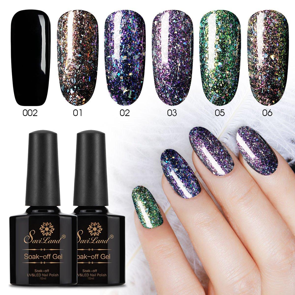 Amazoncom 5 Color Glitter Gel Nail Polish 1 Black Gel Saviland