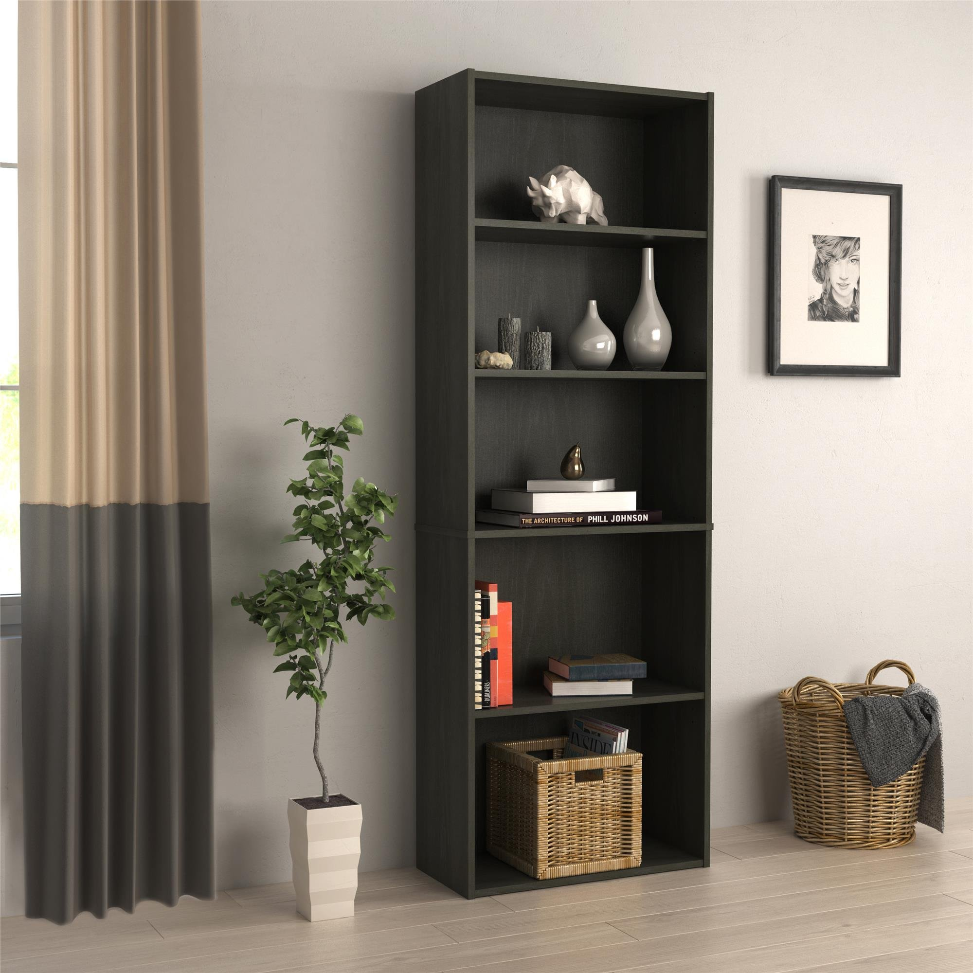 RealRooms Tally 5 Shelf Bookcase, Black Oak