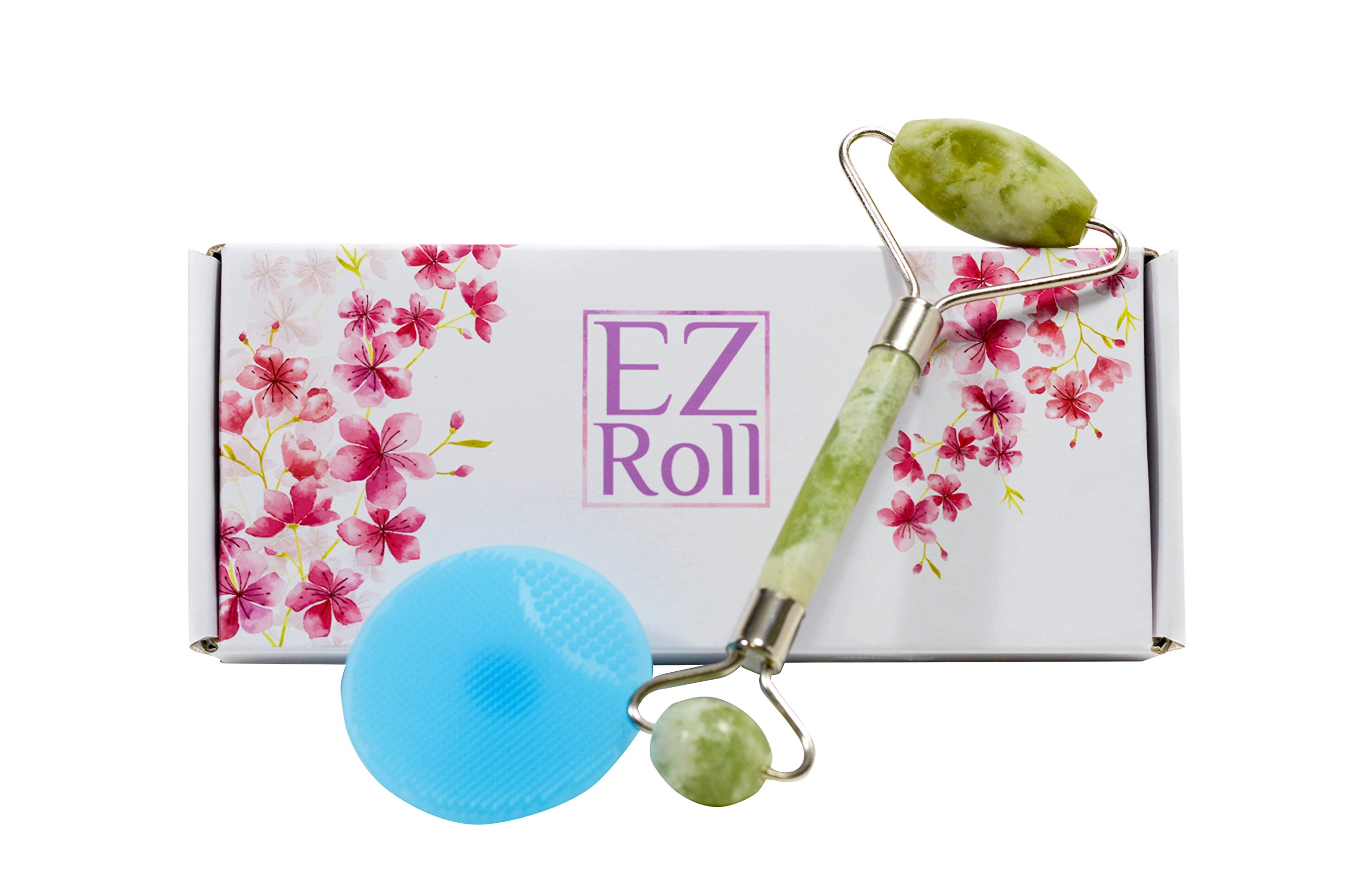 Jade Roller Anti-Aging Skin Care with Silicon Cleansing Brush | Anti-Wrinkle Facial and Exfoliating Double Roll Tool