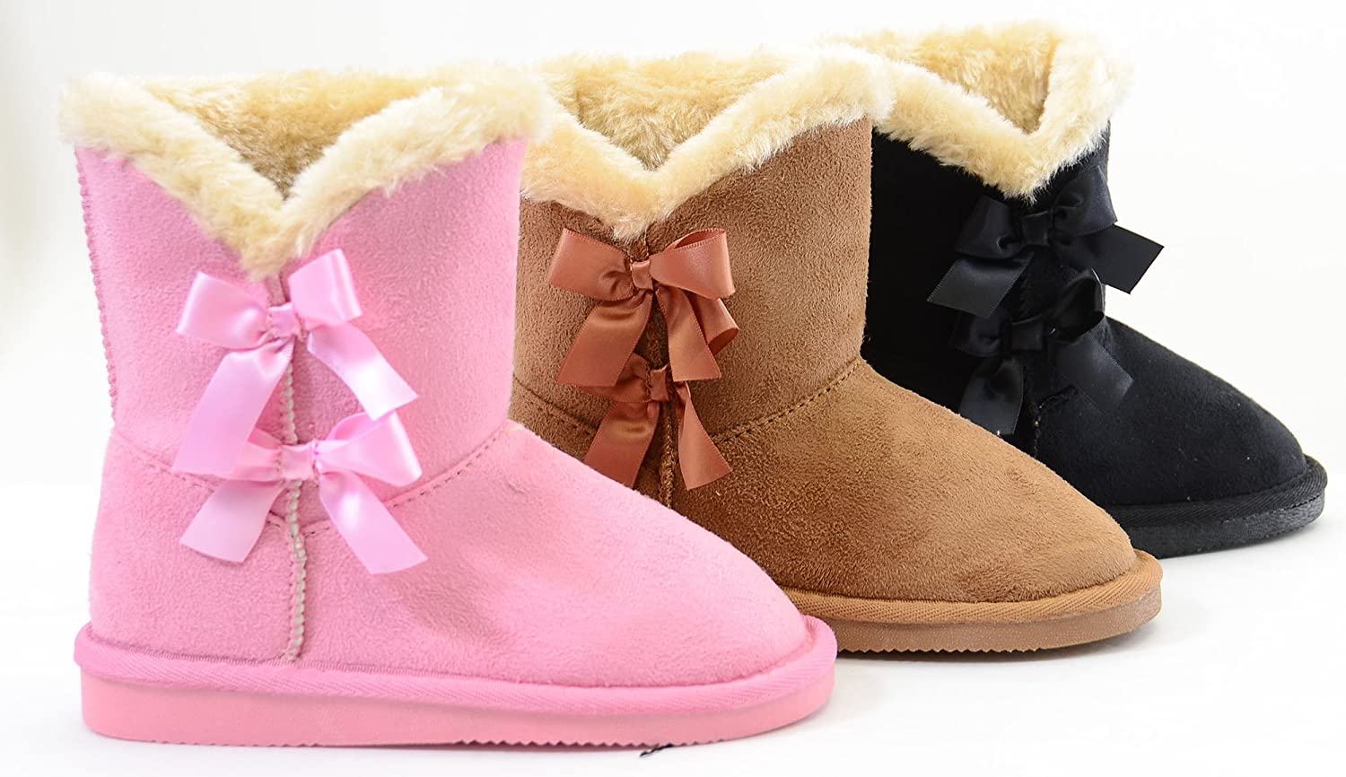 Fourever Funky Pour Fille Nœuds Shearling Vegan Daim Fourrure Bottes - Rose - A Pink bjU017,