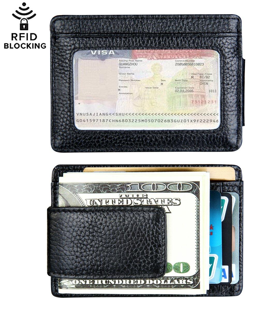 Money Clip, Leather Magnetic Front Pocket Money Clip Slim Minimalist Wallet RFID Blocking