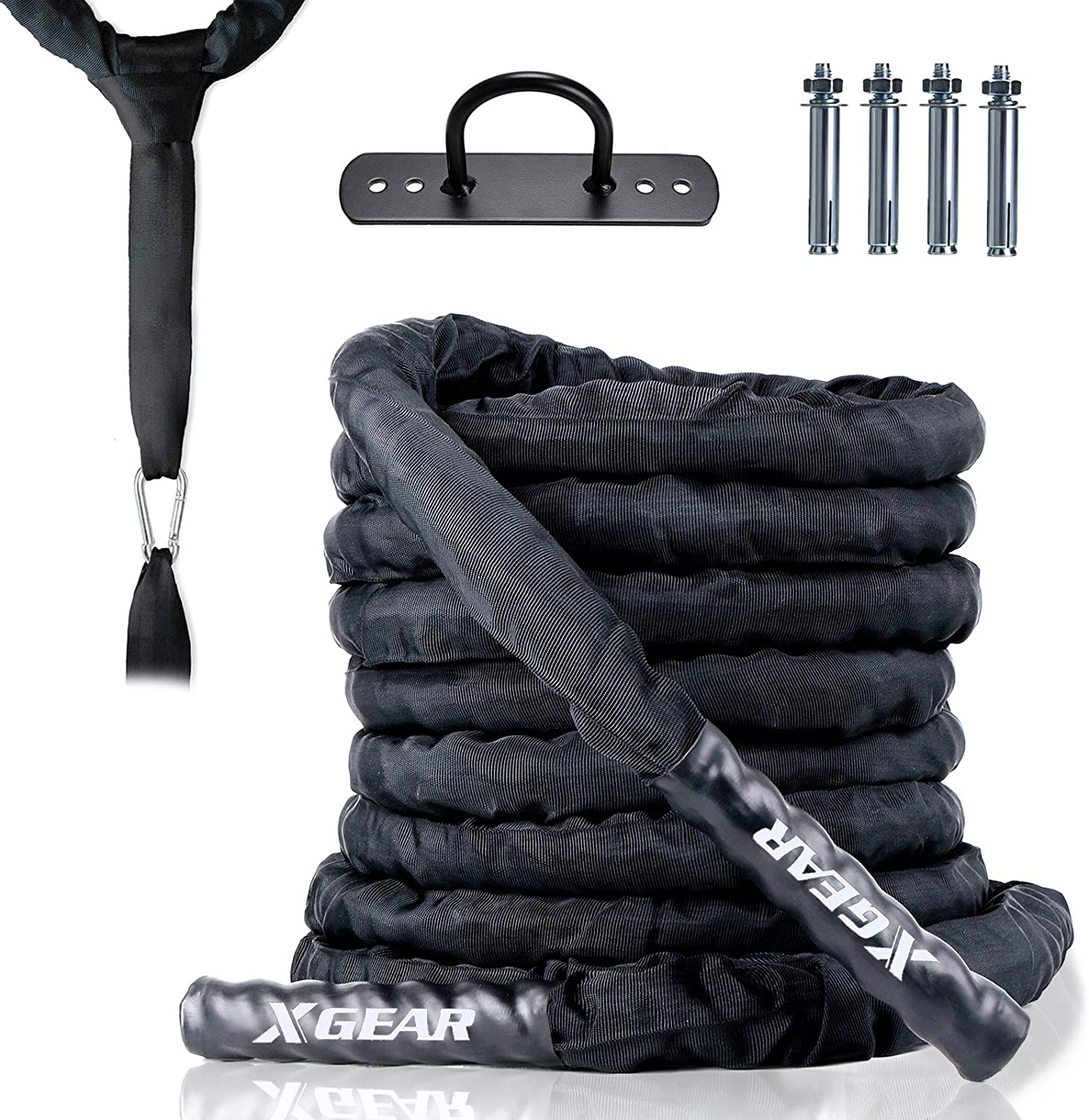 XGEAR Heavy Battle Rope,1.5'' Dia, 30' 40' Lengths Workout Rope with Upgraded Polyester Cover, Anchor Strap, Wall Mount Kit,Undulation Ropes for Home Gym & Outdoor Strength Training, Cardio Workout
