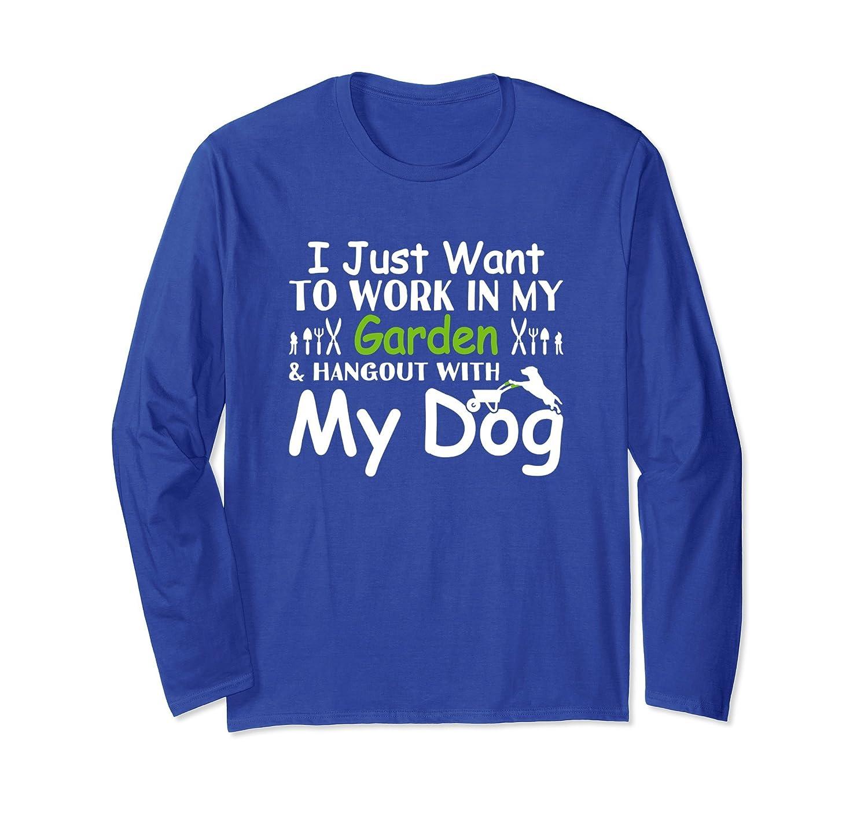Long Sleeve Gardening Shirt Work In Garden With Dog Tshirt-AZP