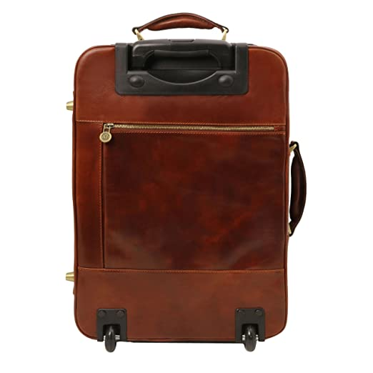 Tuscany Leather TL Voyager Valise verticale en cuir avec deux roulettes Marron foncé h0nb1PrwY