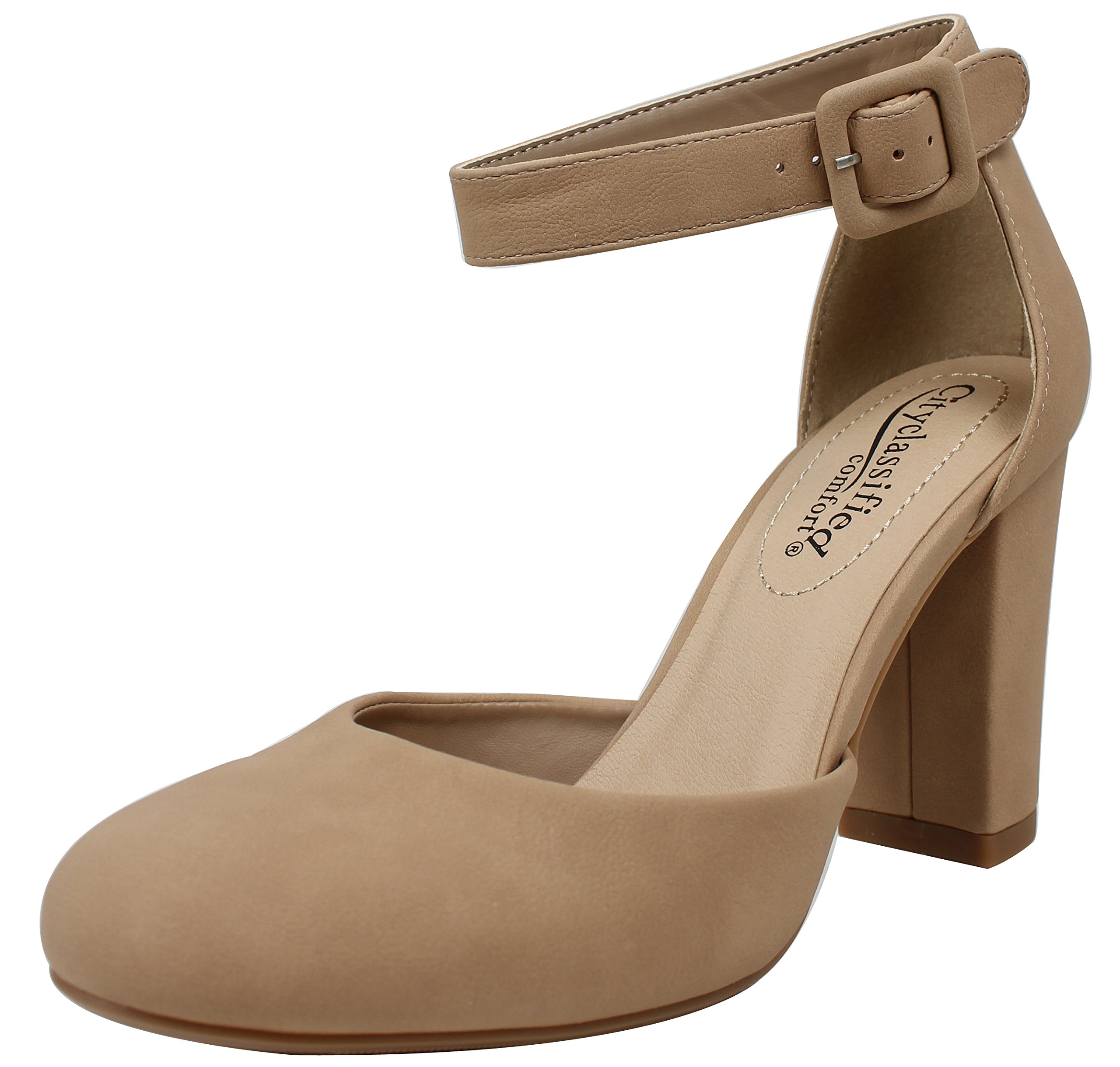 9263b62a4955c Galleon - City Classified Women's Closed Toe Ankle Strap Block Heel,  Natural, 6 M US