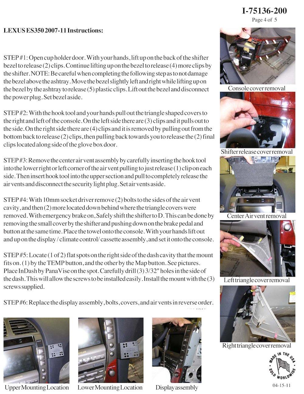 Padholdr Utility Series Premium Locking Tablet Dash Kit for 2002-2011 Lexus ES350 LS460//L and SC430