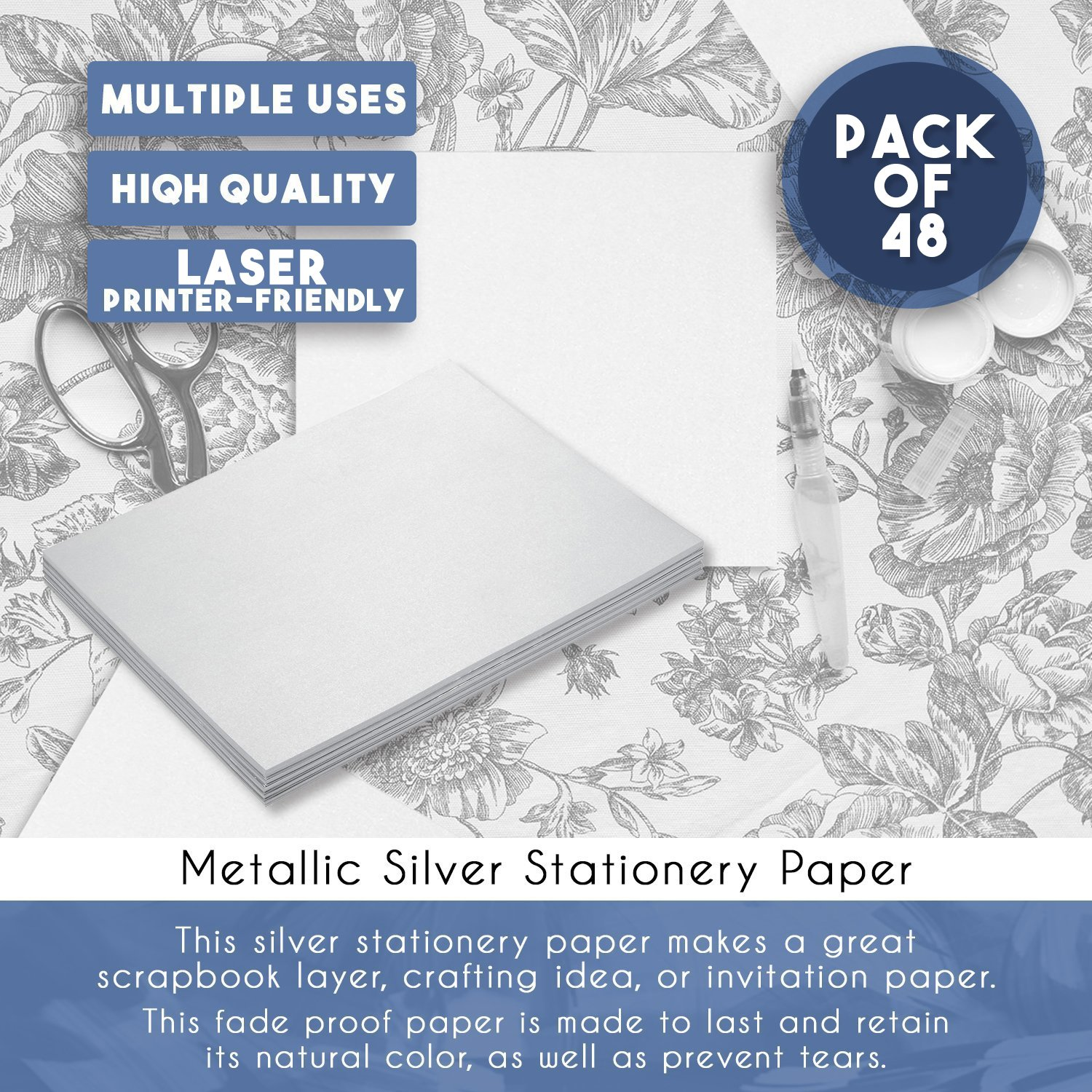 Scrapbooking Letter Writing Paper Cute Paper Premium Paper Stock 8.5 x 11 Inches Writing Stationery 48 Count Metallic Modern Design Silver Stationery Paper