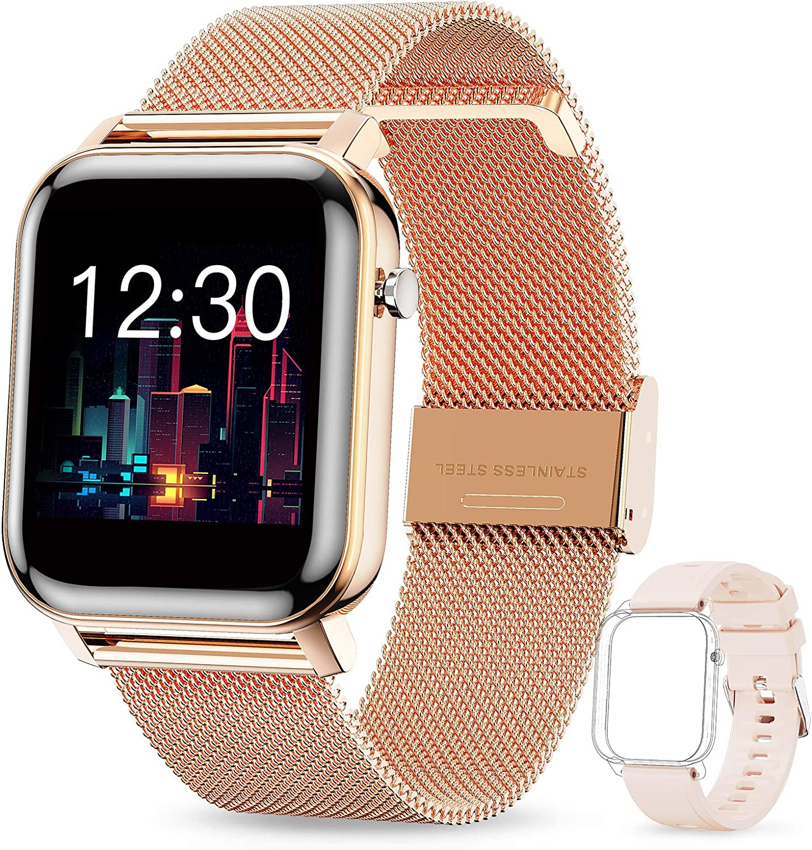 GOKOO Smartwatch Mujer Reloj Inteligente Fitness Deportivo IP68 Impermeable Pulsómetros Entrenamiento Respiratorio Monitor de Sueño Smart Watch Bluetooth Compatible con Android iOS(Dorado)