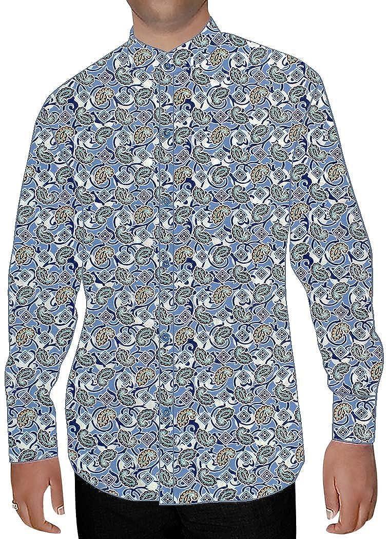 INMONARCH Mens Steel Blue Printed Cotton Shirt Hawaiian NSH14452