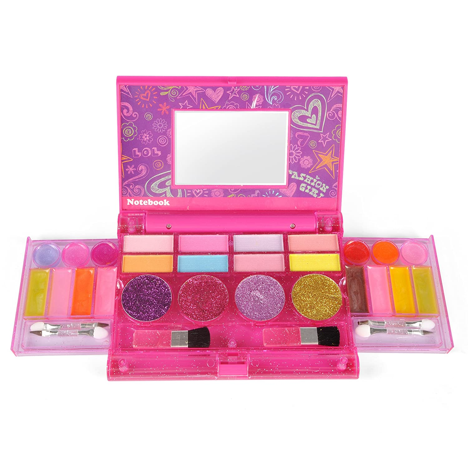 Liberty Imports Princess Girls All-in-One Deluxe Cosmetics Play Set | Palette Vanity with Mirror | Washable & Non Toxic Makeup Kit | Ideal Gift for Kids (Compact)