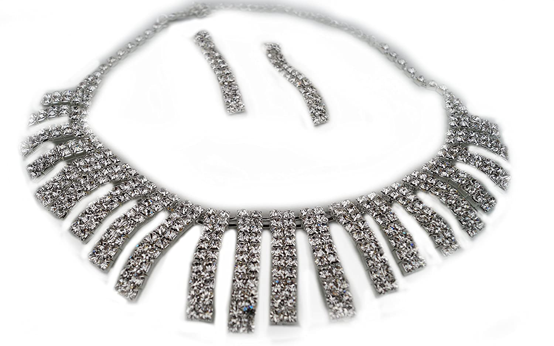 Ohrringe Strass Brautschmuck Halskette Damen Silberfarben Schmuckset Collier