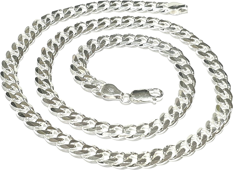 TreasureBay - Cadena de eslabones, plata de ley 925 maciza, 8 mm, para hombre, cadena de plata de ley de 52 cm y 39 gramos