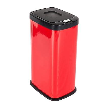 Lyndan - 38 L 38 litro gran compartimento cubo interior en acero tapa pulsador rojo con