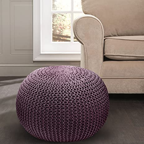 Hand Knitted Cable Style Dori Pouf U2013 Handmade Floor Ottoman With 100%  Cotton Braid Cord
