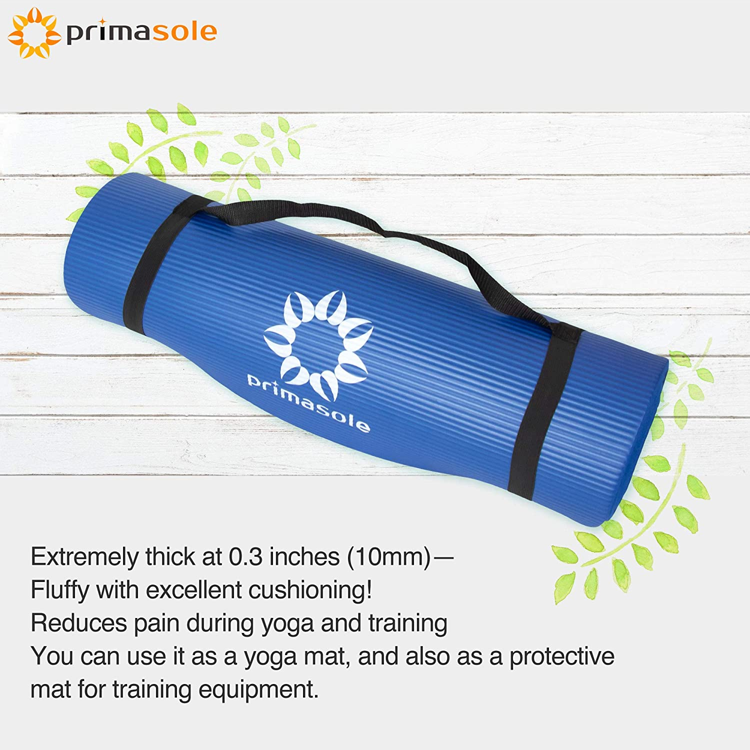 Primasole 【 Limited Brand】 Yoga Mat Training Mat Non-Slip Horizontal Stripe Embossed with Carrying Strap Storage Case Royal Blue Color 72 L/×24 W/×1//2 Inch Thick PSS91NH032A