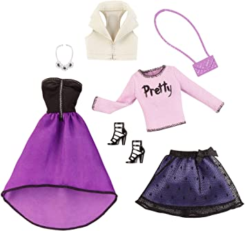 Barbie - Pack con 2 Conjuntos de Ropa para muñeca, Fiesta (Mattel CFY12): Amazon.es: Juguetes y juegos