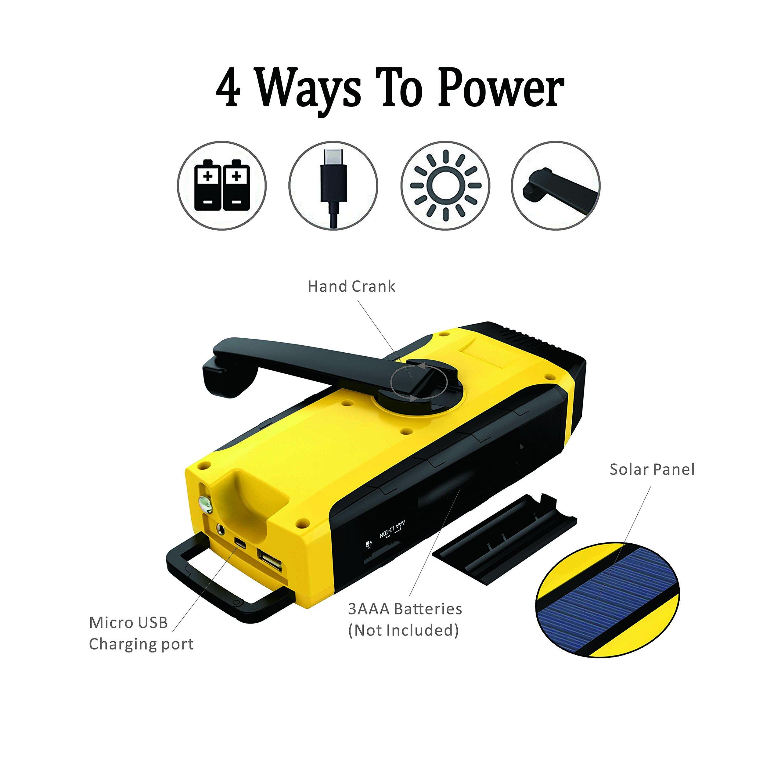 RunningSnail AM/FM NOAA Weather Emergency Solar Digital Crank Radio with 3W LED Flashlight, SOS Alarm & 2000MAh Power Bank(Yellow) … by RunningSnail (Image #3)