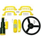 Eastern Jungle Gym Swing Set Accessory Bundle for Kids with Toy Telescope, Telephone, Plastic Wheel and Safety Hand Holds