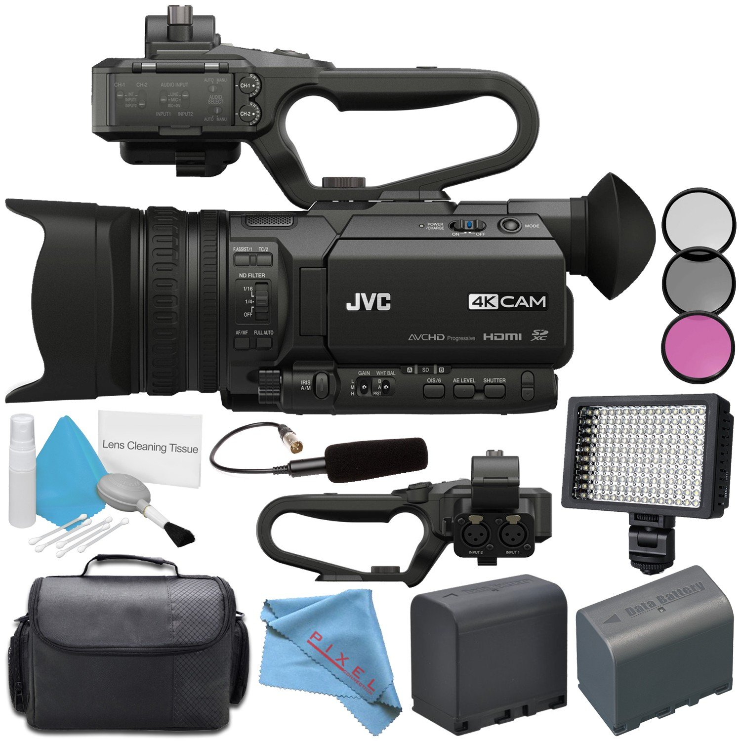 JVC GY-HM170UA 4KCAM Compact Professional Camcorder with Top Handle Audio Unit + BNV-F823 Replacement Lithium Ion Battery + Professional 160 LED Video Light Studio Series Bundle by JVC