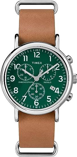 96061255adb9 Timex Reloj Analógico para Hombre de Cuarzo con Correa en Cuero TWC066500   Amazon.es  Relojes