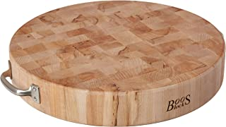 product image for John Boos Block CCB183-R-H Maple Wood End Grain Round Cutting Board with Stainless Steel Handles, 18 Inches Round x 3 Inches Tall