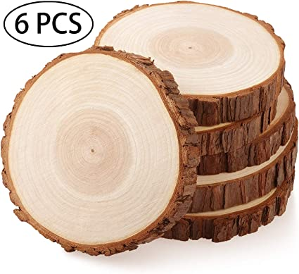 Fuyit Wood Slices 8 Pcs 5.1-5.5 Inches Unfinished Natural Tree Slice Wooden Circle with Bark Log Discs for DIY Arts and Craft Rustic Wedding Christmas Ornaments