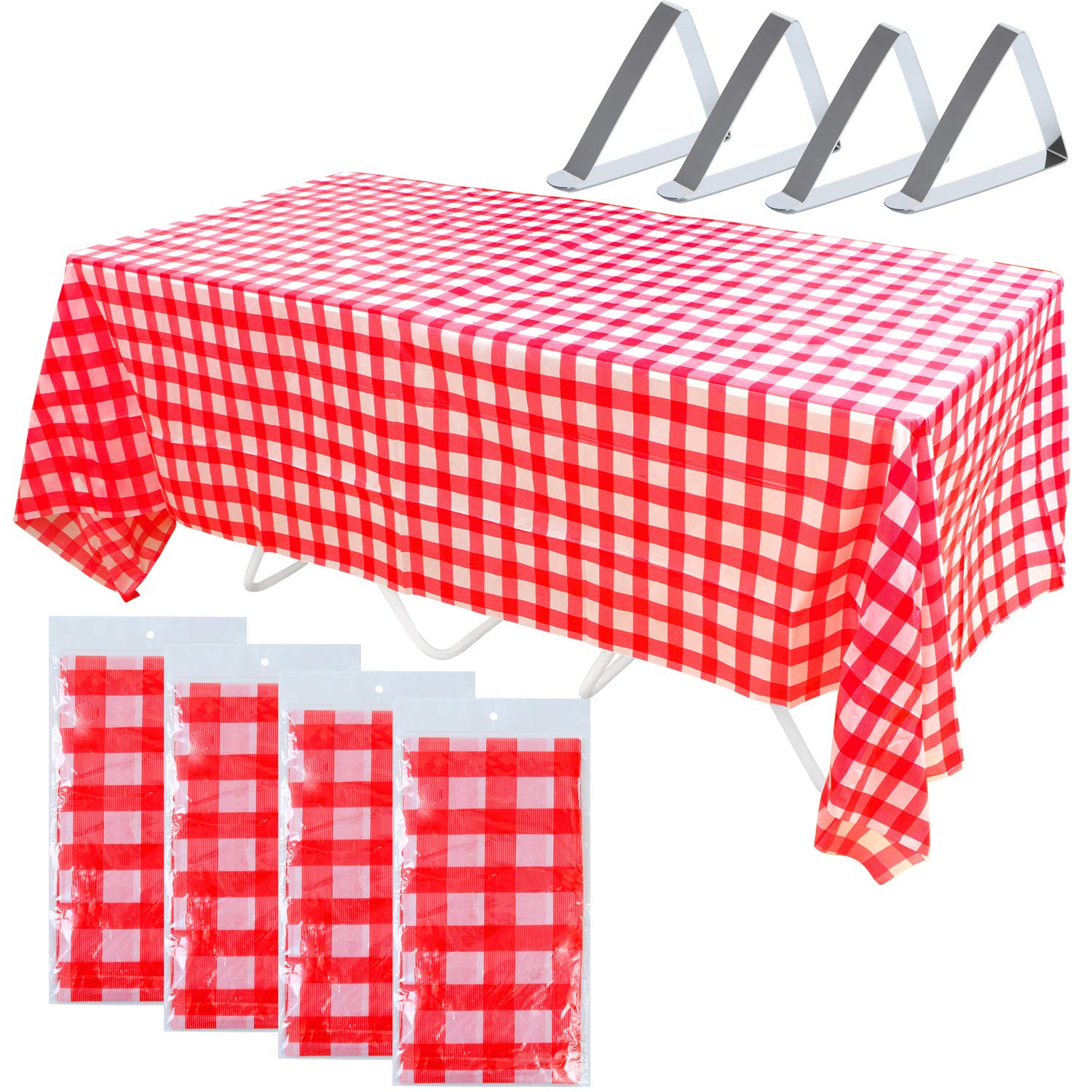 Keriber 4 Pack Plastic Red and White Checkered Tablecloths Tablecovers