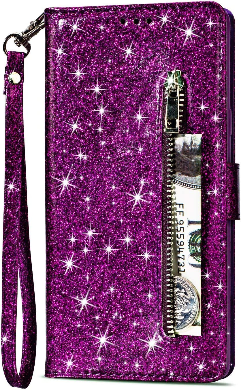 Shinyzone Glitter PU Case for Samsung Galaxy A8 2018,Wallet Leather Flip Case with Zipper Pocket,Bling Cover with 9 Card Holder and Wrist Strap Magnetic Stand Function,Magenta