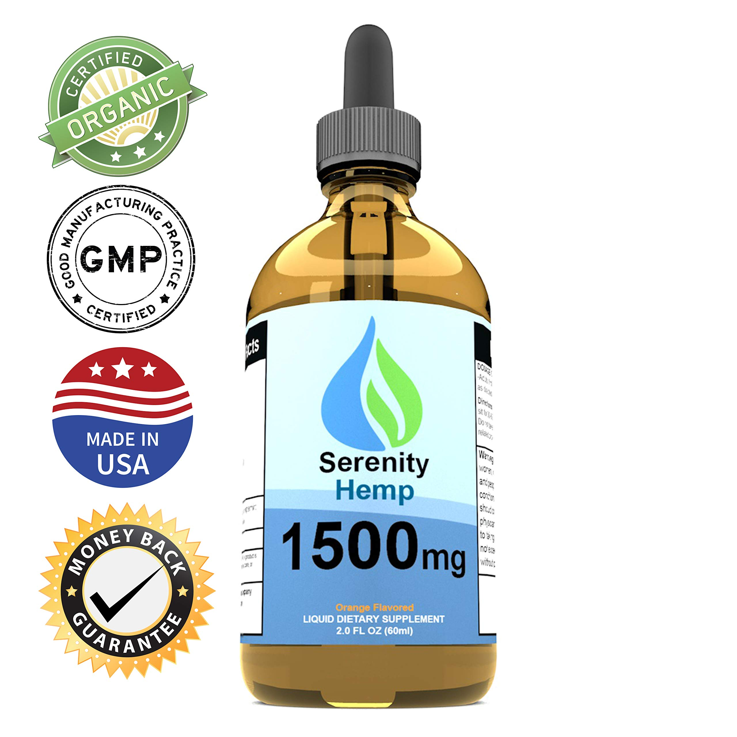 Serenity Hemp Oil - 2 fl oz 1500 mg (Orange) - Certified Organic - Relief for Stress, Inflammation, Pain, Sleep, Anxiety, Depression, Nausea - Rich in Vitamin E, Vitamin B, Omega 3,6,9 and More!
