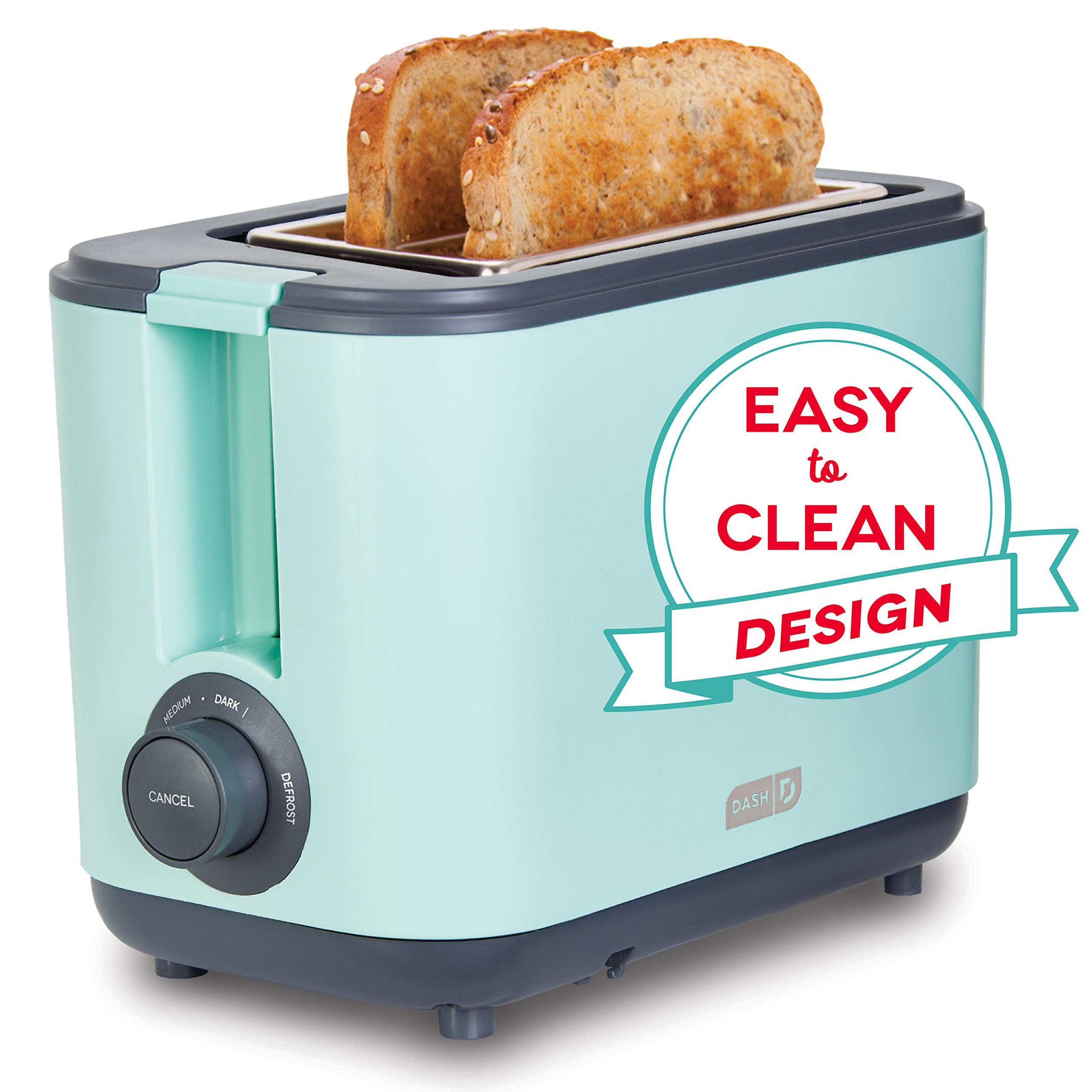 Dash DEZT001AQ 2 Slice Extra Wide Slot Easy Toaster with Cool Touch + Defrost Feature, for Bagels, Specialty Breads & other Baked Goods, Aqua by DASH