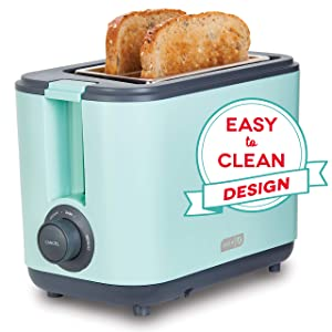 Dash DEZT001AQ 2 Slice Extra Wide Slot Easy Toaster with Cool Touch + Defrost Feature for Bagels, Specialty Breads & other Baked Goods Aqua