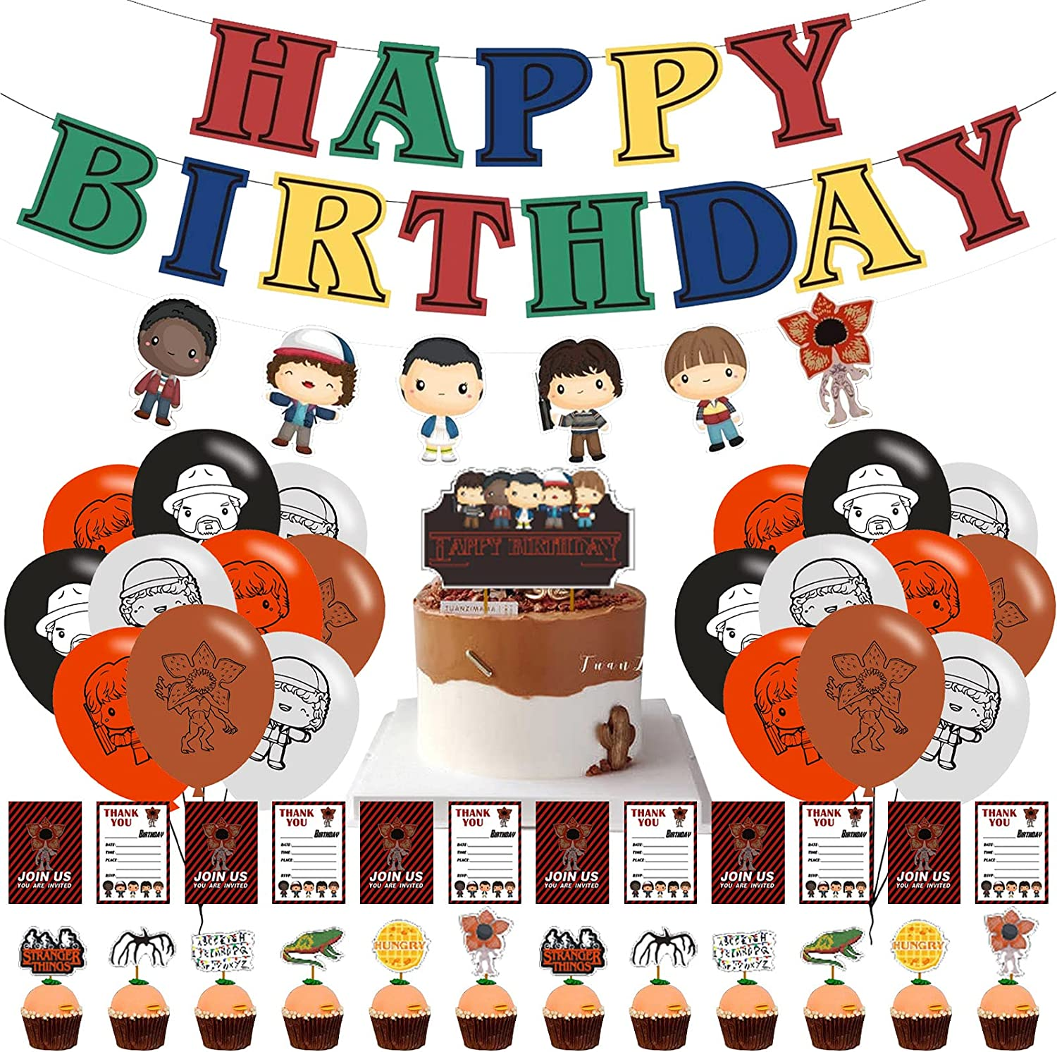 Birthday Party Supplies For Stranger Things,Stranger Things Themed Birthday Party Supplies Set,Happy Birthday Banner, Cake Topper, Cupcake Toppers, Balloons for Kids Party Decorations